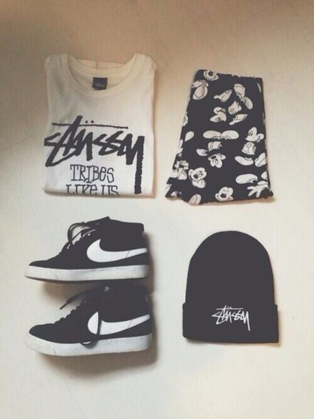 pants shoes hat shorts top t-shirt mickey mouse nike skirt shirt black white  black 7a5597c58f9