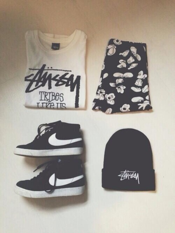 pants shoes hat shorts top t-shirt mickey mouse nike skirt shirt black white black and white stussy t-shirt sassy mickey mouse print outfit streetwear beanie grunge pale hipster