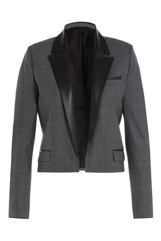 blazer cropped leather wool grey jacket
