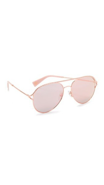 Marc Jacobs Rope Aviator Sunglasses in gold / pink