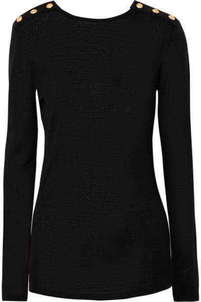 Balmain sweater black silk wool