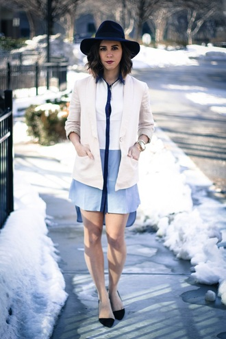 oh va darling blogger jacket shirt dress fedora
