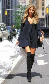 dress,mini dress,black dress,little black dress,martha hunt,model off-duty,boots,over the knee boots,long sleeve dress,victoria's secret model
