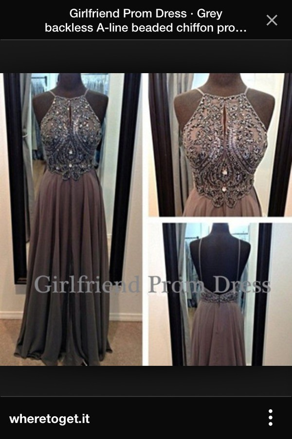 grey backless long chiffon dress