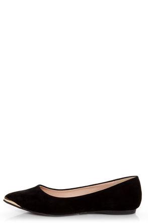 Mixx Shuz Ian Black Gold-Toed Pointed Flats - $25.00