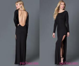 dress prom dress prom black dress long dress long sleeves open back slit dress high neck