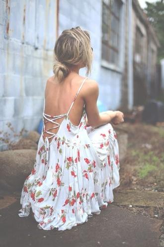 boho white dress hipster\floral brandy melville