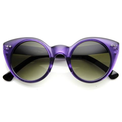 Womens Chic Retro Round Circle Cat Eye Sunglasses 8978                             zeroUV