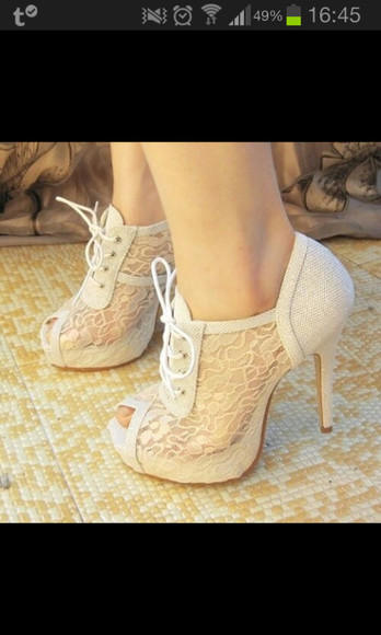 white shoes shoes high heels lace lace up white cream cute lace heels laced high heels
