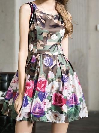 dress camouflage print dress