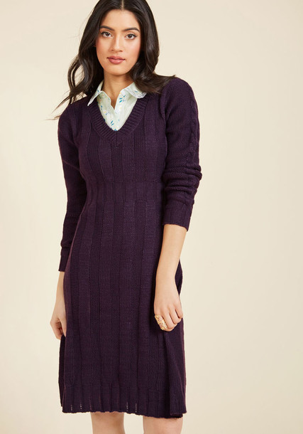 MDD1029 dress rock long midi cozy knit plum purple