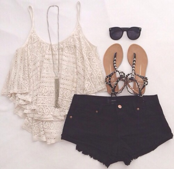 tank top symmetrical crop pattern tank pants blouse sunglasses buffalo skirt jeans jewels top crop tops lace shirt cute black black shorts crochet top shorts shoes