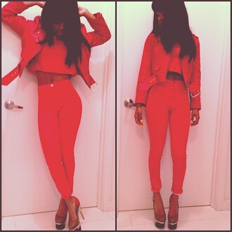 jacket red pants red jacket black shoes teyana taylor jeans