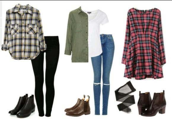 flannel shirt jacket plaid dress fall outfits