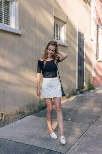 skirt mini skirt denim skirt blogger blogger style off the shoulder top mules slides crossbody bag