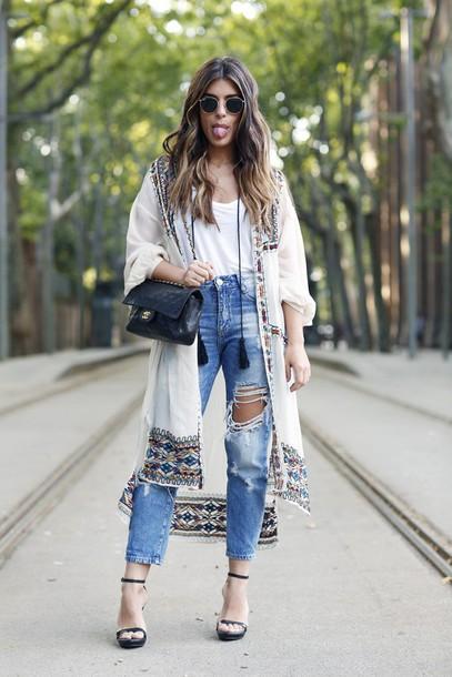 dulceida blogger cardigan shirt shoes pants bag sunglasses white cardigan