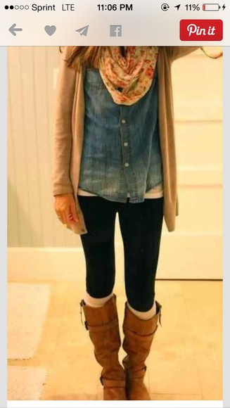 button up jeans top blue shirt leggings scarf ombre