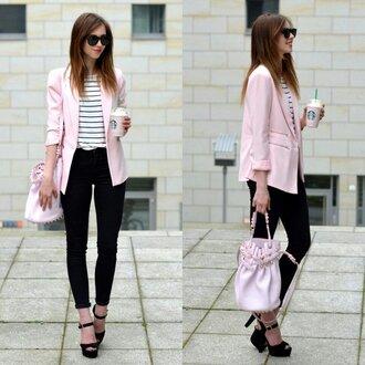 shirt pink blazer black jeans striped shirt stripped shirt jeans blazer