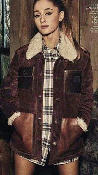 flannel shirt ariana grande jacket winter outfits fall outfits coat
