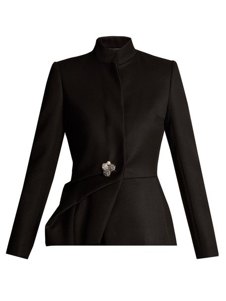 lanvin jacket high draped wool black