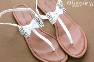 shoes white sandals bow shoes sparkly shoes tumblr shoes sparkle flat sandals