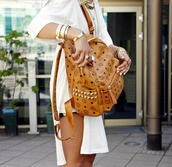 bag,mcm,hm leggings,tank top,long prom dress,white dress,jewels,gold,necklace,oversized sweater,gold sequins,summer outfits,streetwear,black,dope