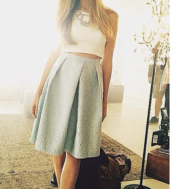 Skirt: pattern, midi skirt, blue, light blue, blue skirt, pleated ...