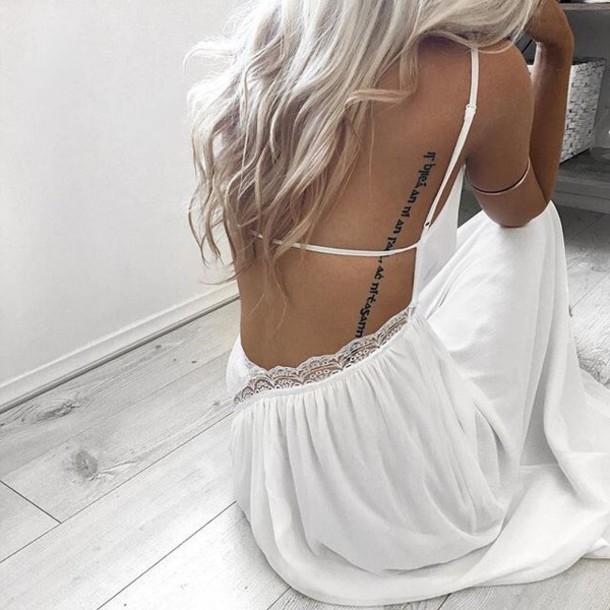 dress white white dress backless dress romantic summer dress long hair boho dress sundress lace dress white lace trim strap dress maxi dress white maxi dress open back dresses romantic dress summer dress