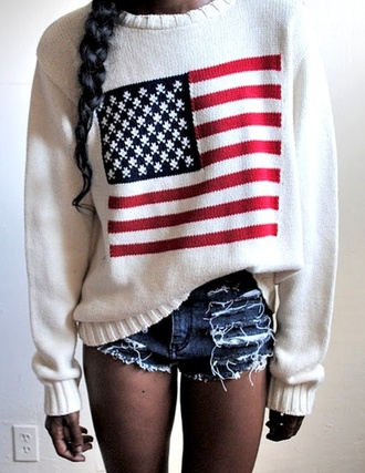 american flag 4th july sweater