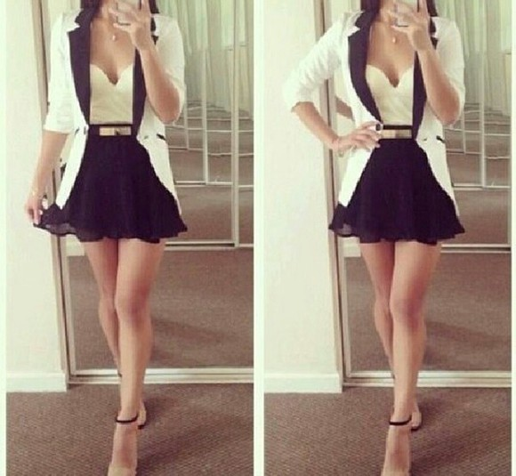 jacket veste dress black and white ceinture belt noir  et blanc