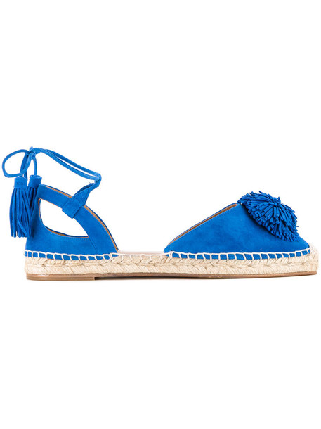 Aquazzura women espadrilles leather blue suede shoes