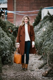 see anna jane,blogger,coat,jeans,sweater,brown coat,winter outfits,tote bag,winter boots,duck boots