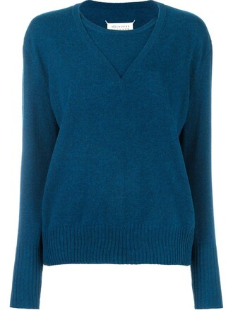sweater layered blue