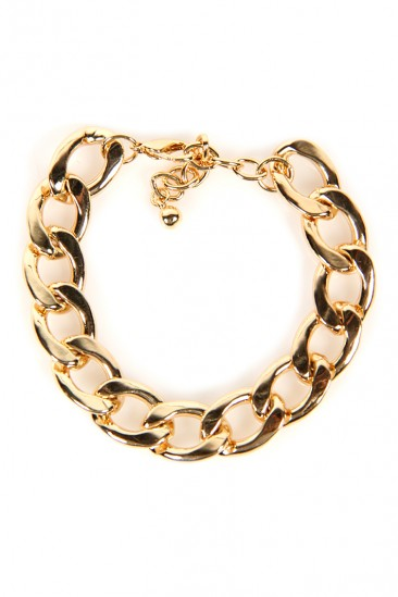 LoveMelrose.com From Harry & Molly   Thick Chain Bracelet - Gold