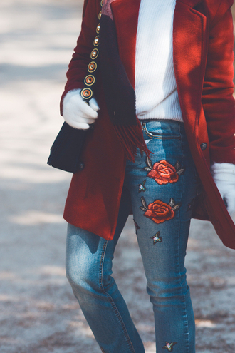 jeans tumblr blue jeans embroidered embroidered jeans gloves knitted gloves sweater white sweater coat red coat bag black bag roses embellished denim rose embroidered