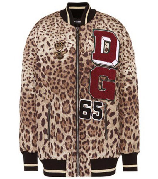 Dolce & Gabbana Embellished satin bomber jacket in brown