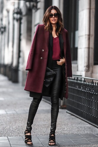 fashionedchic blogger winter outfits leather pants high heel sandals sandals black leather pants burgundy fall colors wool coat fall outfits fall coat winter coat