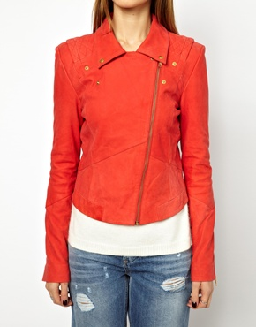 Y.A.S | Y.A.S Lein Biker Jacket In Red Suede at ASOS