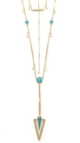 layered necklace layered necklace gold grey turquoise jewels