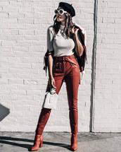 bag,tumblr,white bag,beret,sunglasses,white sunglasses,pants,leather pants,french girl style