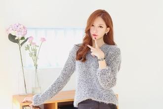 shirt grey sweater korean fashion sweater