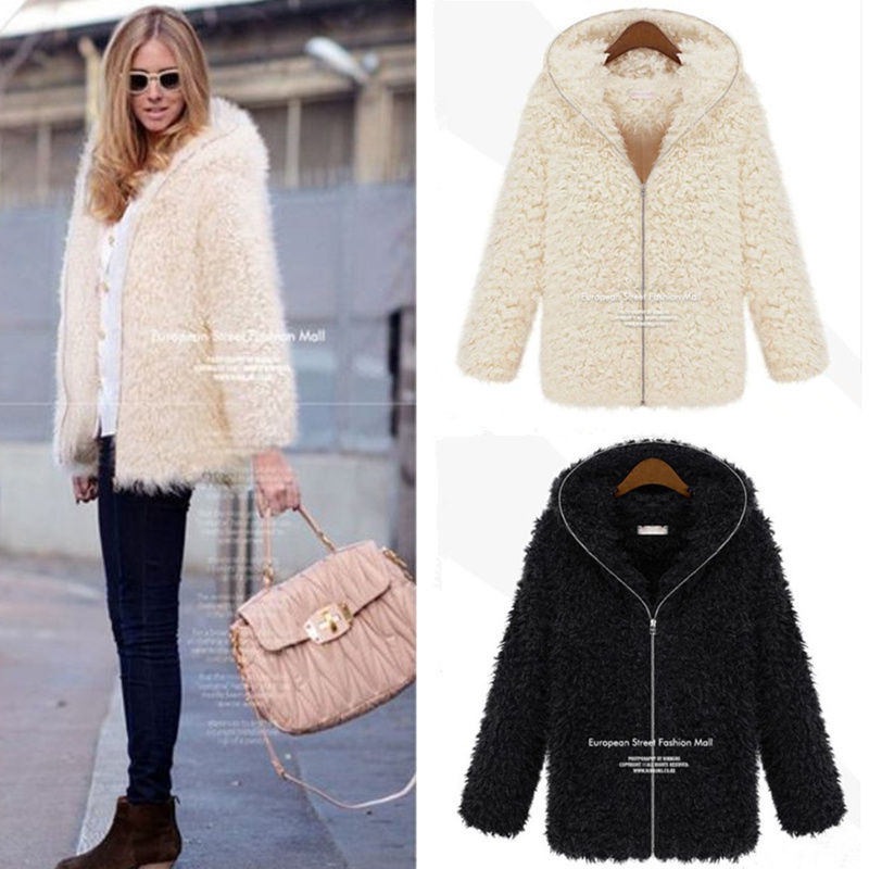 Women Fluffy Shaggy Faux Fur Jackets Thick Hooded Coat Winter Warm Overcoat Tops