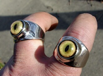 jewels bobcat eye ring cool pretty silver creepy green