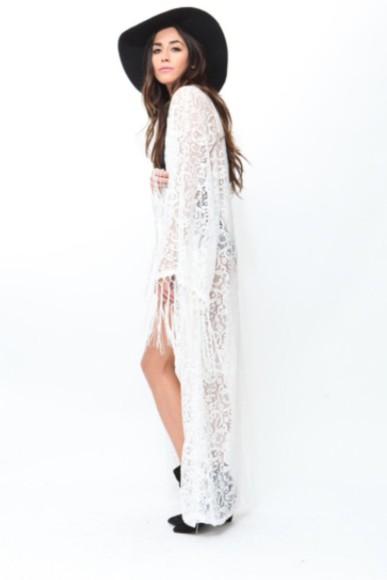 cardigan white lace kimono floor length.