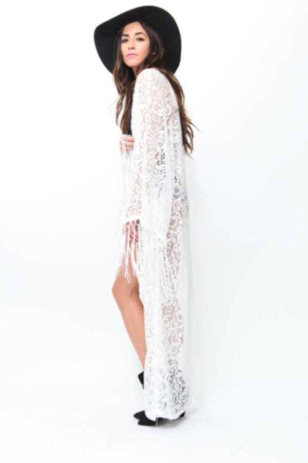 Cardigan: white lace kimono floor length. - Wheretoget