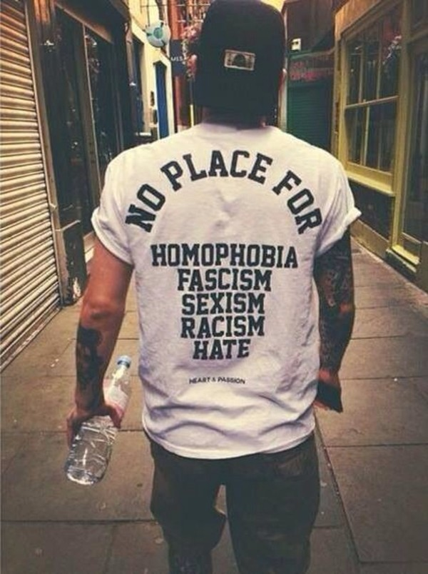 t-shirt shirt lgbt black and white white t-shirt mens t-shirt quote on it gay pride homophobia antifascism anarchism antifa clothes bag t-shirt graphic tee perfect racism sexism menswear band t-shirt swag trill white white shirt guys tumblr shirt mens shirt white top feminist style punk alternative music hate coat black t-shirt equality love unisex
