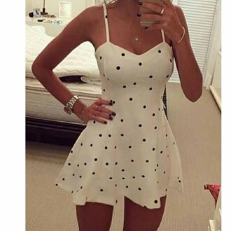 dress polka dots white dress simple style watch summer dress summer outfit short dress