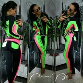 jumpsuit,zefinka,black and white striped sweat pants,tracksuit,hoodie,neon,black,neon adidas tracksuit,two-piece,casual,streetwear,streetstyle,bodycon,skinny pants,2 piece set women,instagram,selfie,neon pink,neon green