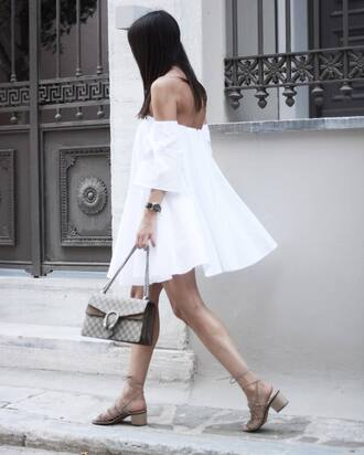 dress white dress summer dress gucci bag designer bag nude shoes summer outfits date outfit off the shoulder off the shoulder dress romantic summer dress dionysus lace-up shoes medium heels