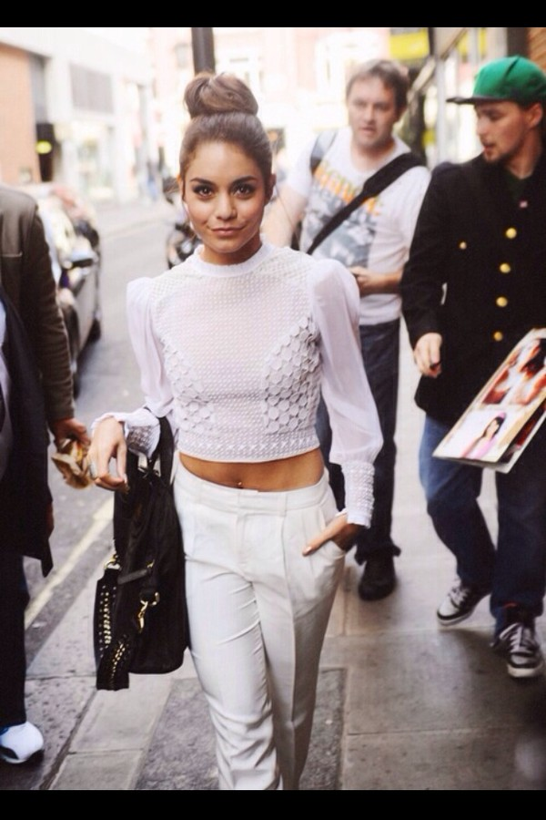 t-shirt shirt white vanessa hudgens pants long sleeves sweater topbun sweater